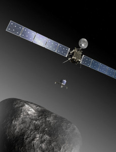 Rosetta and Philae at comet (ESA–C. Carreau/ATG medialab)