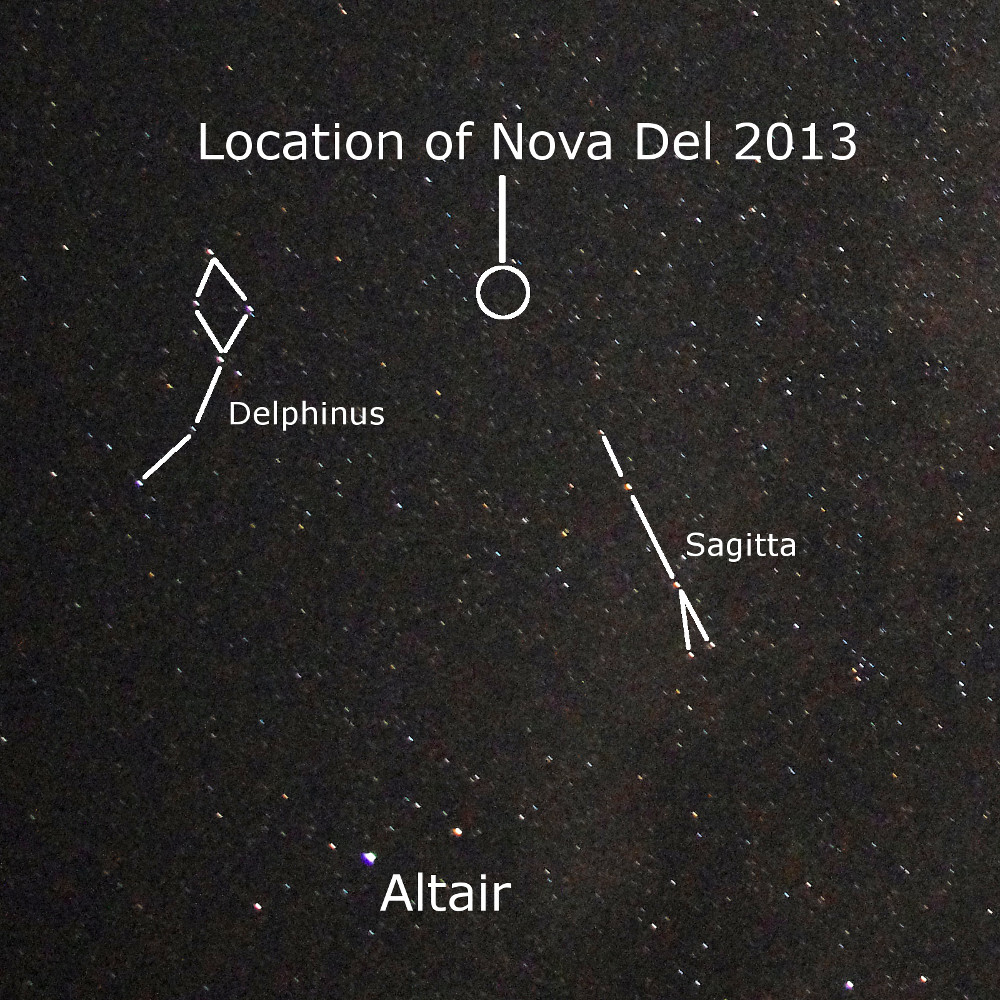 My shot of the region of sky where V339 Del (Nova Del 2013) was to explode only two days later