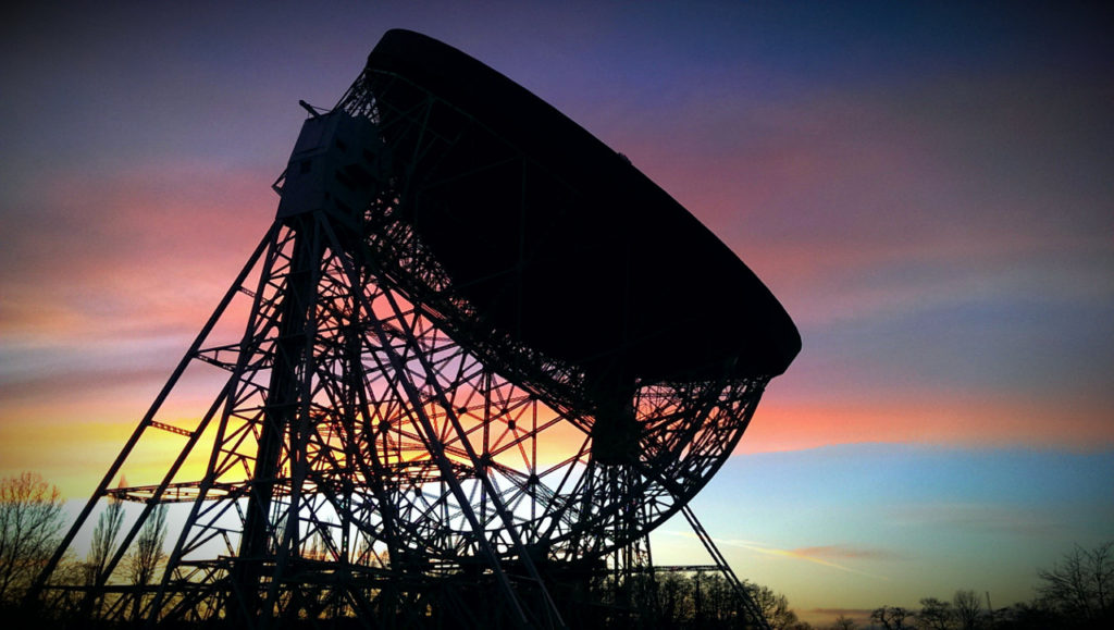 Jodrell Bank's Lovell Telescope at sunset